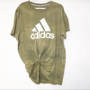 2X Adidas Olive Green Distressed Casual Tee Shirt
